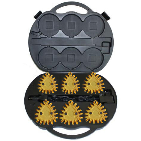 6 Pack Yellow Rechargeable Led Flares Kits