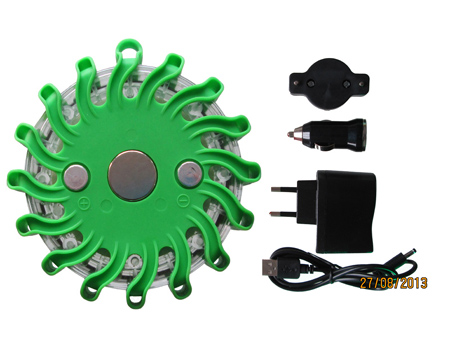 Single Pack Rechargeable Green Led Road Flares and Safety Flares Lights Kits