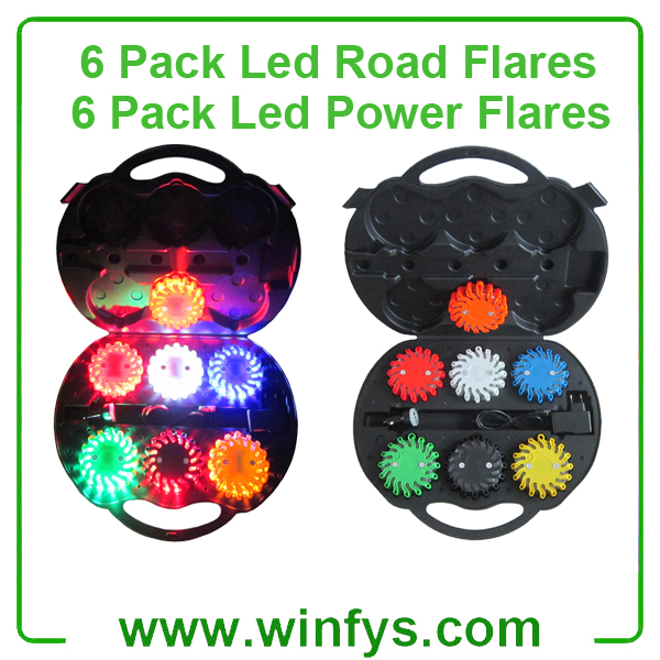 6 Pack Rechargebale Led Road Flares Red Amber Orange