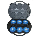 6 pack blue rechargeable led road flares