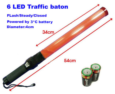 "21"" 54cm Led Traffic Baton with 3 White LED Headlight"