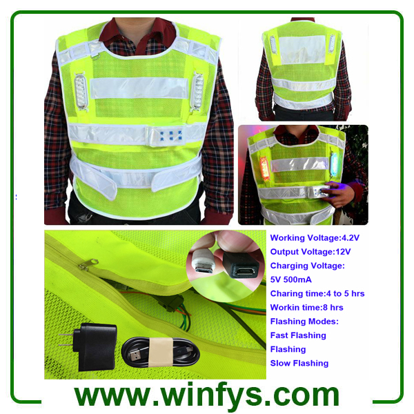 Hi Vis Reflective Tape Rechargeable Flashing LED Light Safety Vest Jacket