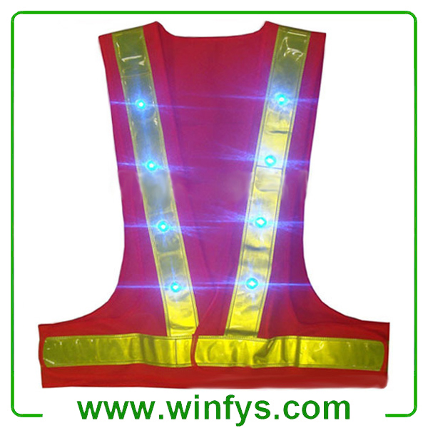 Blue Red Led Safety Vests Led Safety Clothes Factory