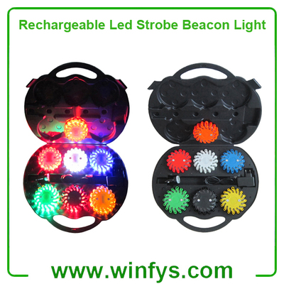 Red Amber Orange Rechargeable Led Strobe Beacon Light