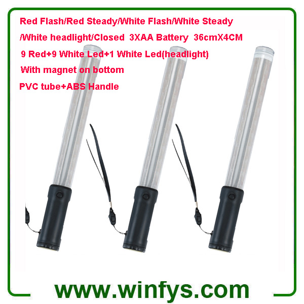 36cm Red White AA Battery Led Traffic Batons Led Traffic Wands