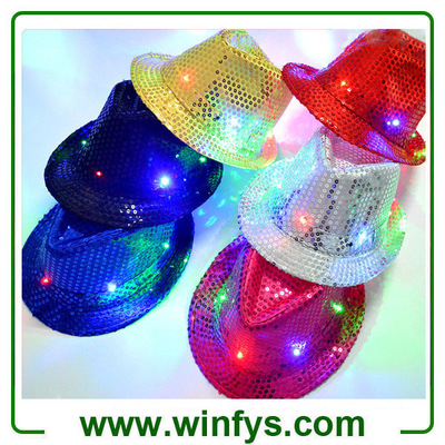 Performance Light up Jazz Hat LED Sequin Fedora Caps LED Flashing Fedora Light up Cap for Birthday P