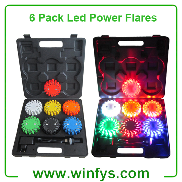 6 Pack Rechargebale Led Power Flares Red Amber Orange