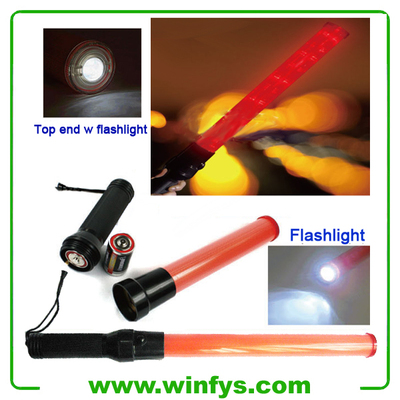 "21"" 54cm Red or Green LED Traffic Batons With Flashlight"