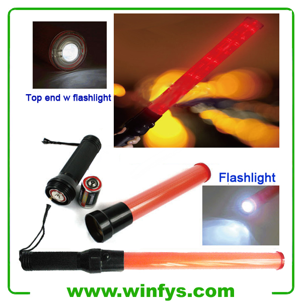 21 Inches 54cm Red Or Green LED Traffic Batons With Flashlight
