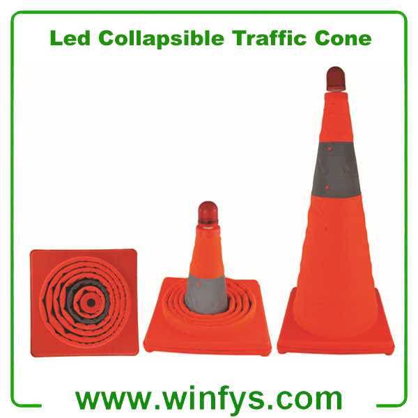 "LED Collapsible Traffic Road Safety Cone Pop Up Cone 28"" Collapsible Pop Up Cones"