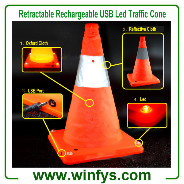 "16"" Retractable USB Rechargeable Led Flashing Safety Traffic Road Cone"