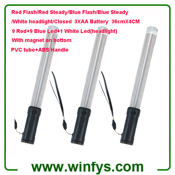 36cm Red Blue AA Battery Led Traffic Batons Led Traffic Wands