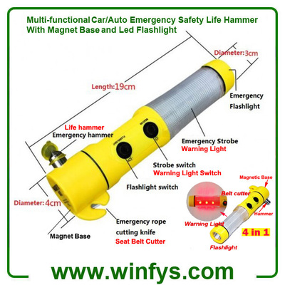 4 in 1 Multi-functional Car/Auto Emergency Safety Life Hammer With Magnet Base and LED Flashlight