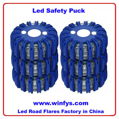 16 Red LED Emergency Hazard Warning Safety Road Light Led Safety Puck