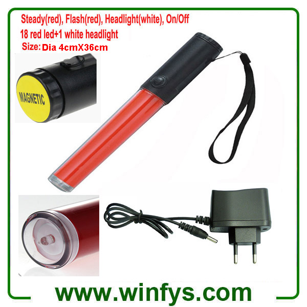 36cm Red Rechargeable LED Traffic Batons Led Traffic Wands