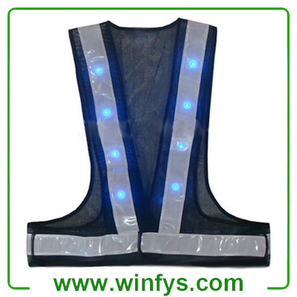 High Visibility Battery Operated Safety Vests With Led Light