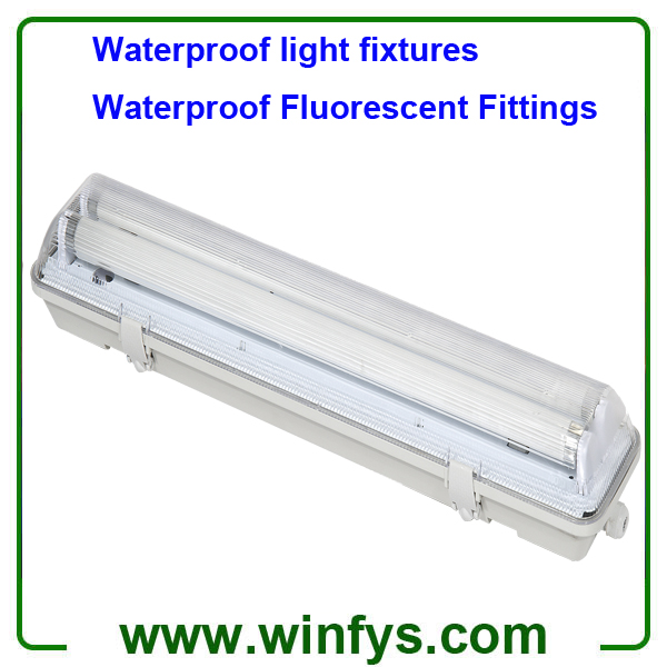 IP65 Waterproof light fixtures 2X18W T8 Waterproof Fluorescent Fittings