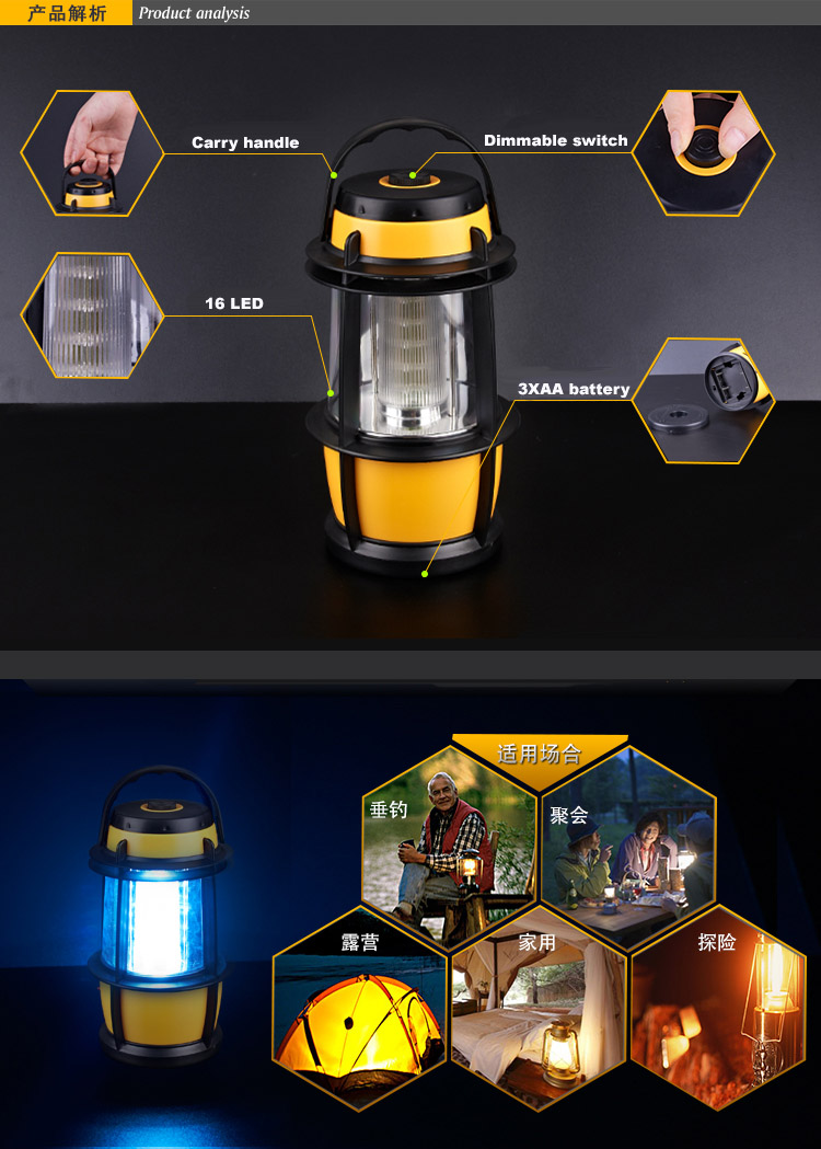 16 LED Dimmable LED Lantern Light Lamp