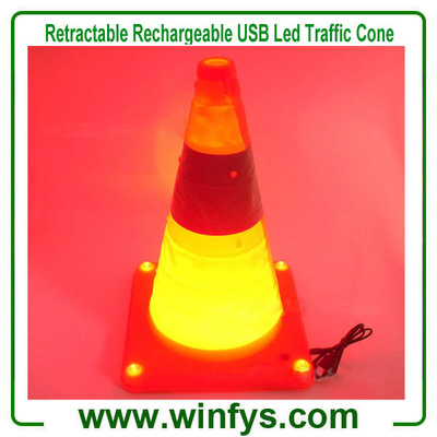 "16"" Collapsible Retractable USB Rechargeable Led Flashing Safety Traffic Road Cone"
