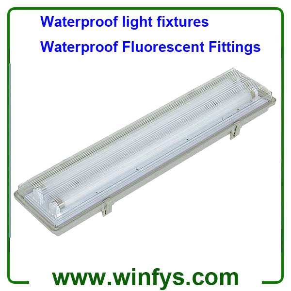 2ft  60cm IP65 Waterproof light fixtures 2X18W T8 Waterproof Fluorescent Fittings