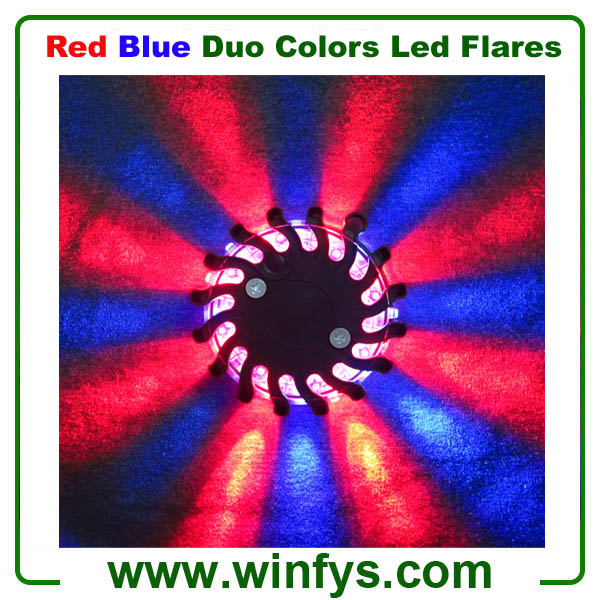 blue / red led flare puck