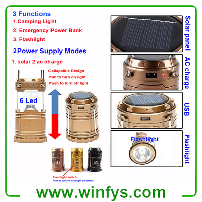 USB Portable Collapsible Retractable Rechargeable LED Solar Camping Lamps Lanterns Lights