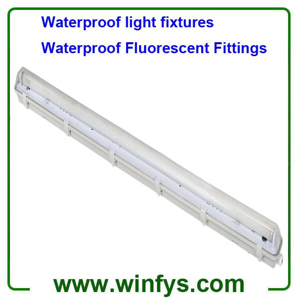 IP65 Waterproof light fixtures 2X58W T8 Waterproof Fluorescent Lighting Fittings