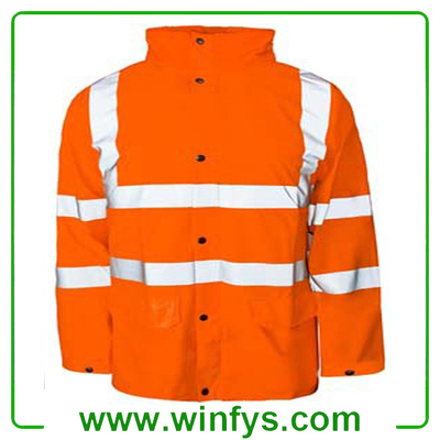 High Visibility Orange Yellow Winter Safety Coat