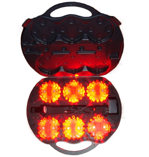 6 Pack Rechargeable Led Road Flares Amber Orange Led Light