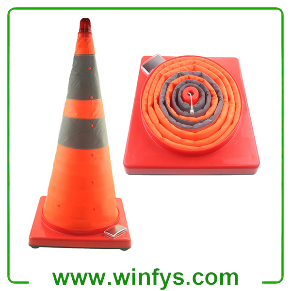 Solar Foldable Traffic Cones Solar Collapsible Traffic Cones Retractable Traffic Cones