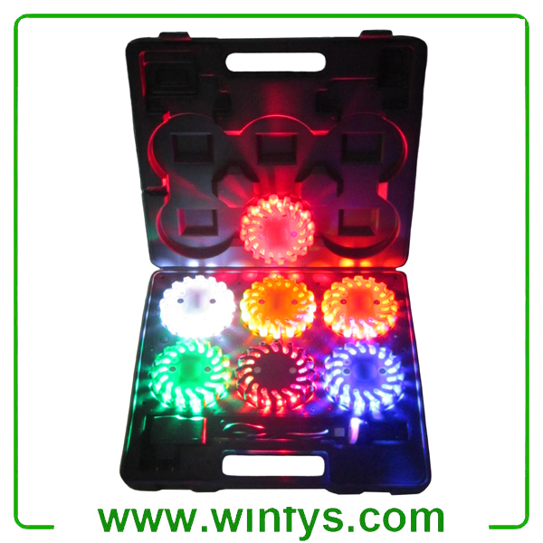 6-pack rechargeable led road flares