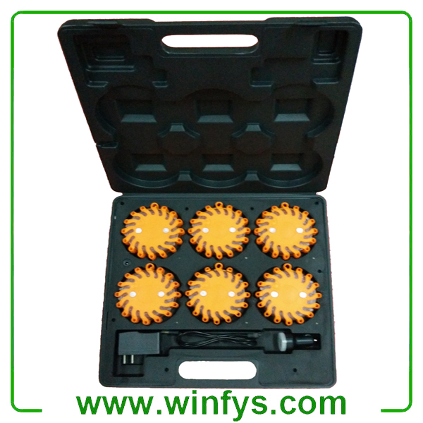 6 PACKS RECHARGEABLE LED HAZARD LIGHTS AMBER