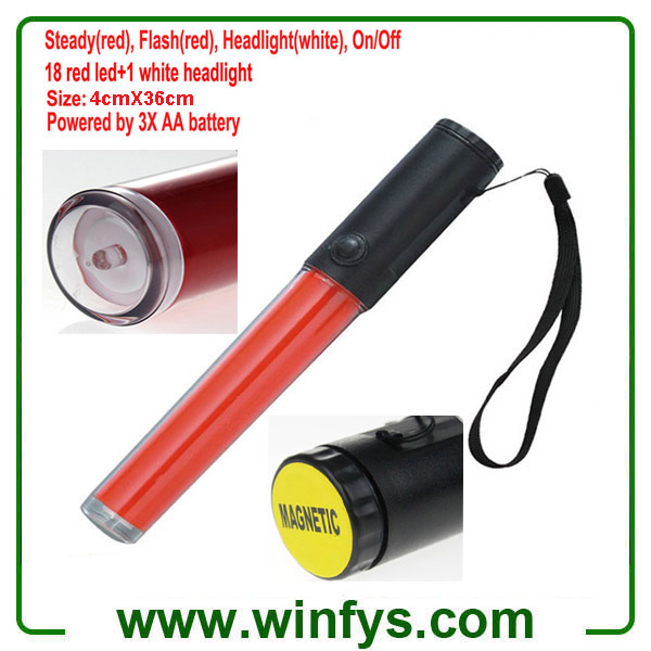 3XAA Battery 36cm PC Tube Led Red Traffic Wands