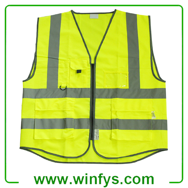 High-Visibility Yellow Reflective Safety Vest With Pocket