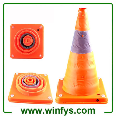 "16"" 28"" Orange Foldable Collapsible Rechargeable Cones Pop Up Rechargeable Traffic Cone"