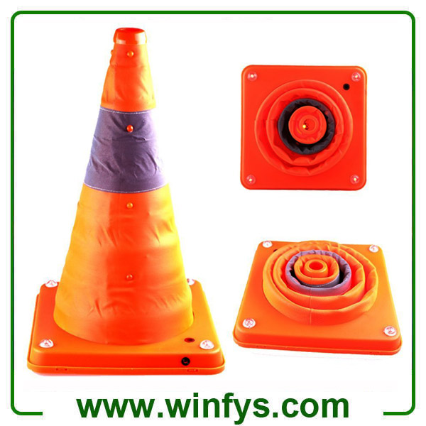16 Inches Retractable Traffic Cone Rechargeable Collapsible Traffic Cones Foldable Traffic Cones