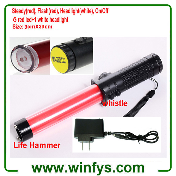 30cm Red Rechargeable Led Traffic Wands Led Traffic Batons With Lifehammer and Whistle