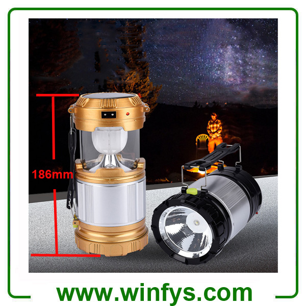 Rechargeable Collapsible Solar LED Camping Lanterns Lamps Lights With Flashlights & USB Power Bank