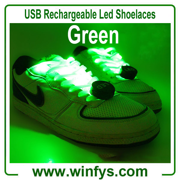 USB Rechargeable Led Shoelaces Green