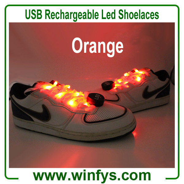 USB Rechargeable Led Shoelaces Orange
