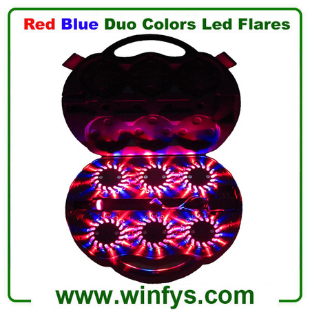 Red Blue Duo Colours 6PK Rechargeable Led Road Flares