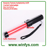 3XAA Battery 12 Inch 30cm Red Led Traffic Wands Led Traffic Batons With Lifehammer and Whistle