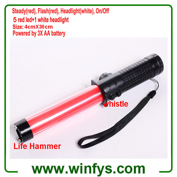 3XAA Battery 30cm Red Led Traffic Wands Led Traffic Batons With Lifehammer and Whistle
