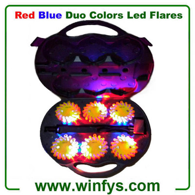 Rechargeable Red Blue Led Flares in Yellow Housing