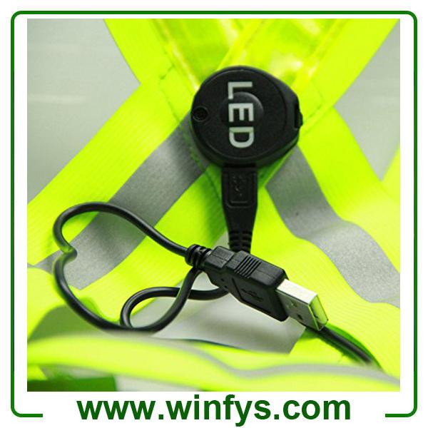 Glowing Flashing Led Vest Led Running Vest USB Rechargeable LED Safety Vests