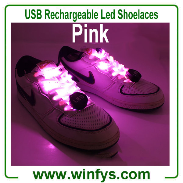 USB Rechargeable Led Shoelaces Pink