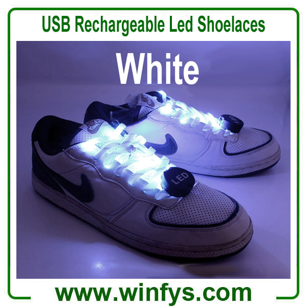 USB Rechargeable Led Shoelaces White