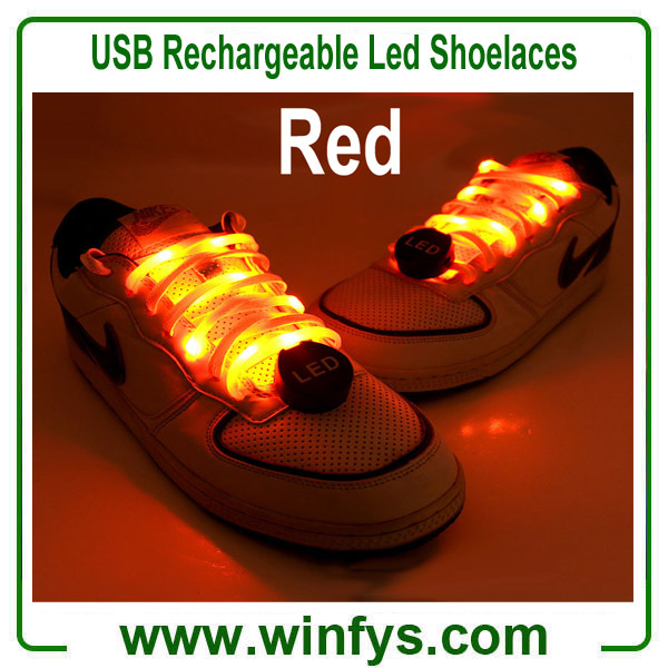 USB Rechargeable Led Shoelaces Red