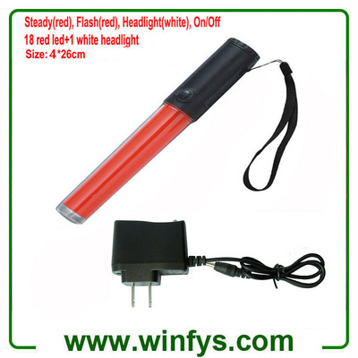 10 Inch 26cm Red Rechargeable LED Traffic Batons Led Traffic Wands