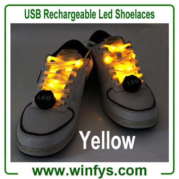 USB Rechargeable Led Shoelaces Yellow